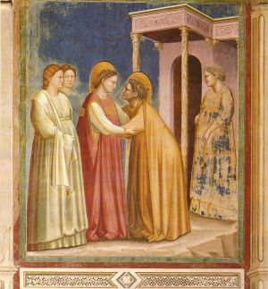 Paintings of pregnancy maternity clothing - Giotto Visitation - historical fashion for women - maternity.jpg