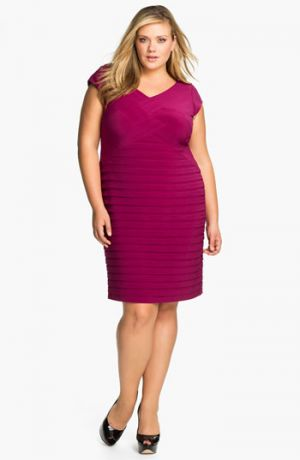 Adrianna Papell Basket Weave Shutter Pleat Sheath Dress - Plus Size Deep Berry.jpg