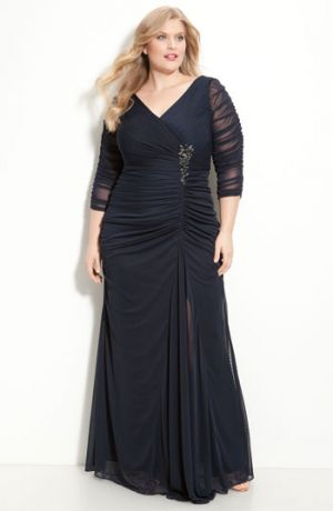 Adrianna Papell Beaded Mesh Gown - Plus Size evening dresses - Ink.jpg