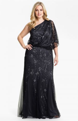 Adrianna Papell Beaded One Shoulder Gown Plus Size Charcoal.jpg