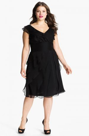 Black Chiffon Plus Size Dress