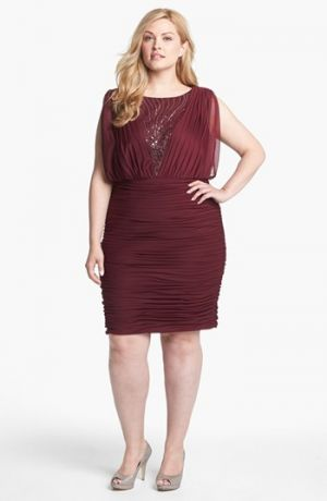 Adrianna Papell Embellished Mesh Ruched Dress - Plus Size - Red Wine.jpg