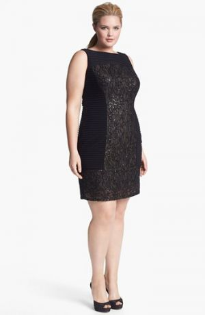 Adrianna Papell Embellished Mixed Media Sheath Dress - Plus Size  Black.jpg