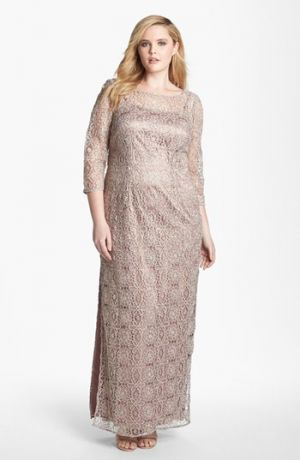 Adrianna Papell Floral Lace Column Gown - Plus Size Rose Gold.jpg