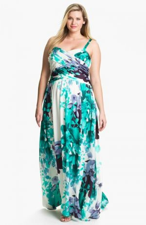 Adrianna Papell Floral Print Charmeuse Gown - Plus Size - Teal Multi colour.jpg