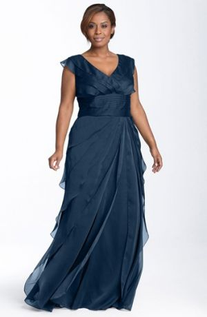 Adrianna Papell Iridescent Chiffon Petal Gown Plus Size evening dresses - Navy.jpg