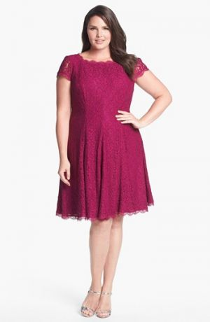 Adrianna Papell Lace Fit & Flare Dress - Plus Size - Crushed Berry.jpg