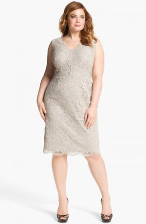 Adrianna Papell Lace Sheath Dress - Plus Size in Taupe.jpg
