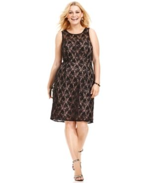 Adrianna Papell Plus Dress, Sleeveless Sequined Lace.jpg