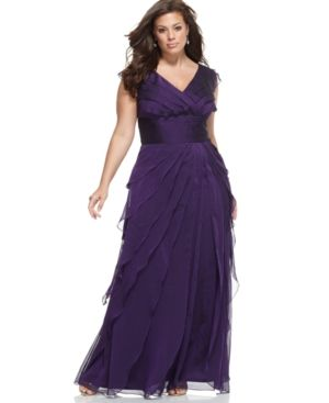 Adrianna Papell Plus Size Dress - Purple Short-Sleeve Beaded Ruched.jpg