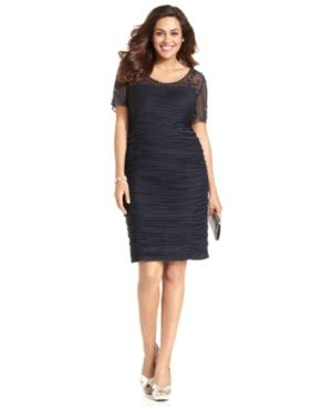 Adrianna Papell Plus Size Dress - Short-Sleeve Beaded Ruched.jpg