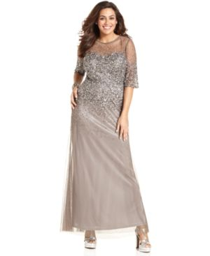 Adrianna Papell Plus Size Dress - Silver Elbow-Sleeve Beaded Gown.jpg