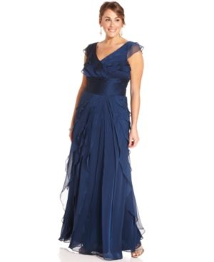 Adrianna Papell Plus Size Dress - Sleeveless Tiered Empire Waist Evening Gown.jpg