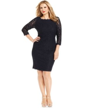 Adrianna Papell Plus Size Dress - Three-Quarter-Sleeve Lace.jpg