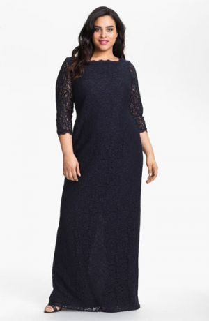 Adrianna Papell Scalloped Lace Gown - Plus Size cocktail and evening dresses.jpg