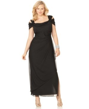 Alex Evenings Plus Size Dress - Cold Shoulder Empire Waist Evening Gown.jpg
