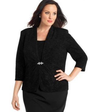 Alex Evenings Plus Size Evening Set - Three Quarter Sleeve Glittered Jacket & Sleeveless Top.jpg