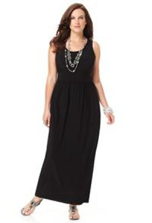 Avenue Plus Size Solid Braided Trim Maxi Dress.jpg