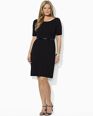 Black Lauren Ralph Lauren Plus Elbow-Sleeved Boatneck Dress.jpg