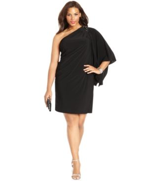 Black R&M Richards Plus Size Dress - Three Quarter Flutter Sleeve One Shoulder Beaded Cocktail Dress.jpg