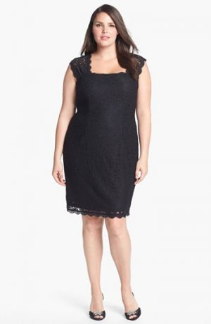 Black cocktail dress - Adrianna Papell Lace Sheath Dress Plus Size Black.jpg