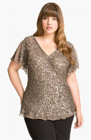 Bling top - Adrianna Papell Sequin Chiffon Top - Plus Size Mink.jpg