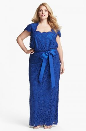 Blue Tadashi Shoji Grosgrain Trim Lace Gown - Plus Size evening dresses with short sleeve.jpg
