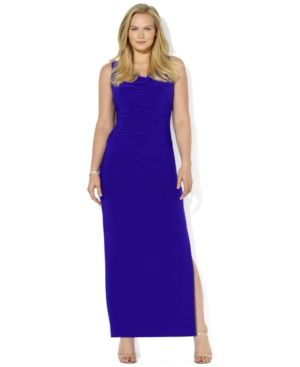 Bright blue Lauren Ralph Lauren Plus Size Dress - Sleeveless Ruched Cowl-Neck Gown.jpg