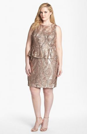 Cocktail fashion - Adrianna Papell Sequin & Lace Peplum Dress - Plus Size Rose Gold.jpg