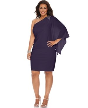 Cocktail fashion - Purple R&M Richards Plus Size Dress - Three Quarter Flutter Sleeve One Shoulder Beaded Cocktail Dress.jpg