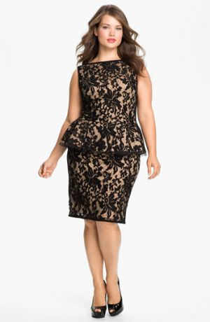 Cocktail fashion - Tadashi Shoji Lace Peplum Dress Plus Size Black Nude.jpg