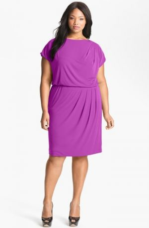 Cocktail fashion - Vince Camuto Pleated Blouson Dress - Plus Size Fuchsia.jpg