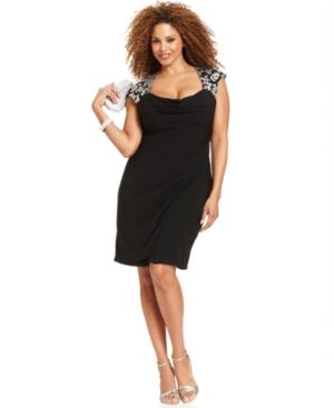 Cocktail fashion - Xscape Plus Size Dress - Cap-Sleeve Sequin-Lace Cocktail.jpg