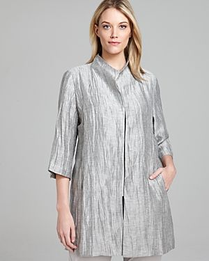 Eileen Fisher Plus High Neck Three Quarter Sleeve Long Jacket.jpg