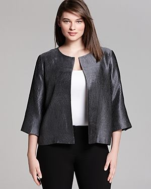 Eileen Fisher Plus Round Neck Three Quarter Sleeve Boxy Jacket.jpg