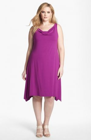 Fuschia Eileen Fisher Cowl Neck Dress Plus Size Hydrangea.jpg