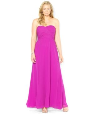 Hot pink Lauren Ralph Lauren Plus Size Dress - Strapless Sweetheart Gown.jpg