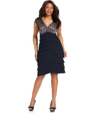 Jessica Howard Plus Size Dress - Sleeveless Lace Tiered Cocktail Dress.jpg