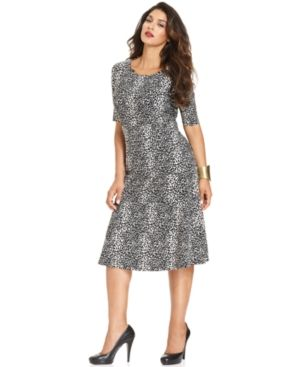 Jones New York Plus Size Dress - Short-Sleeve Dot-Print A-Line.jpg