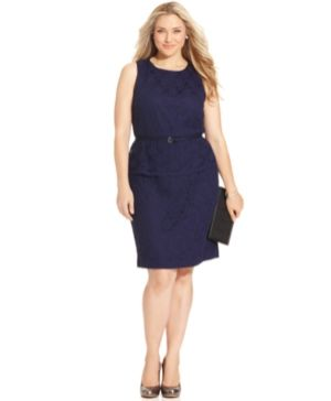 Jones New York Plus Size Dress - Sleeveless Belted Lace Peplum Sheath.jpg