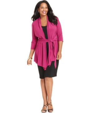 Jones New York Plus Size Dress - Three-Quarter-Sleeve Layered Jersey.jpg
