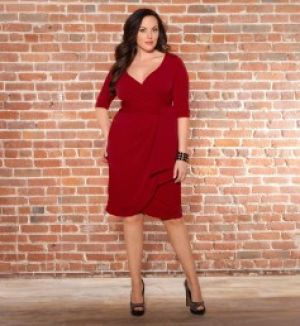 Kiyonna Harlow Faux Wrap Dressy Cocktail Dress - Eggplant Womens Plus Size.jpg