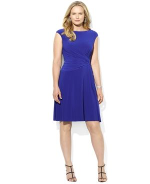 Lauren Ralph Lauren Plus Size Dress - Cap-Sleeve A-Line Jersey.jpg