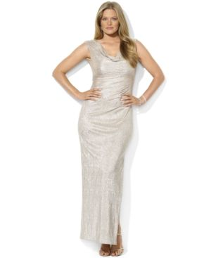 Lauren Ralph Lauren Plus Size Dress - Cap-Sleeve Metallic Cowl-Neck Gown.jpg