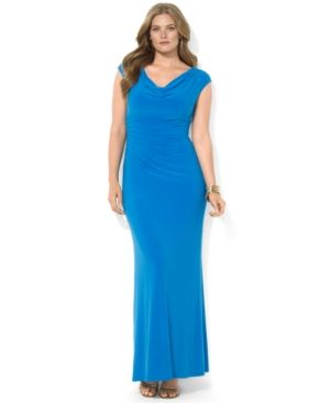 Lauren Ralph Lauren Plus Size Dress - Cap-Sleeve Pintucked Cowl-Neck Gown.jpg