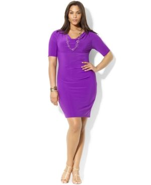 Lauren Ralph Lauren Plus Size Dress - Purple Three-Quarter-Sleeve Ruched Jersey.jpg