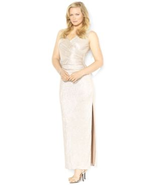 Lauren Ralph Lauren Plus Size Dress - Sleeveless Metallic Gown.jpg
