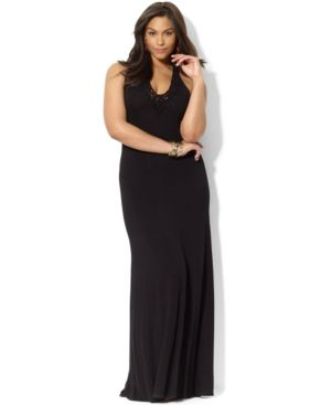 Lauren Ralph Lauren Plus Size Dress - Sleeveless Twist-Knot Maxi.jpg