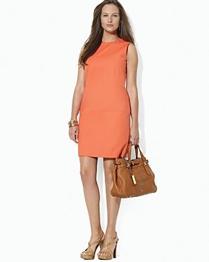 Lauren Ralph Lauren Plus Sleeveless Crew Neck Dress in coral salmon.jpg