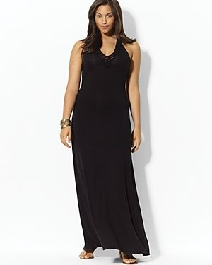 Lauren Ralph Lauren Plus Twisted-Knot V-Neck Maxi Dress.jpg